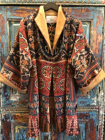 Ikat Jacket made from southeast asian textiles by Dancing Ladies in Santa Fe New Mexico