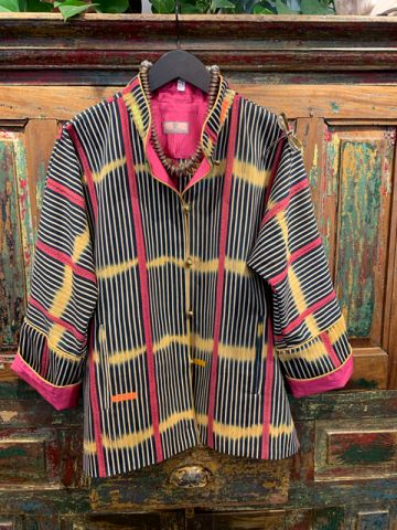Front of a pink stripped West Africa Baule Jacket.